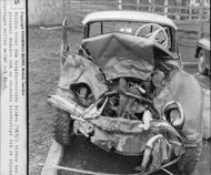 The picture shows the total wrecked car in which three people were killed and one injured on the highway between Malmö and Lund