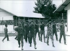 Vintage photo of soldiers on their marching exercise in New Guinea. Photo taken on May 28, 1962.