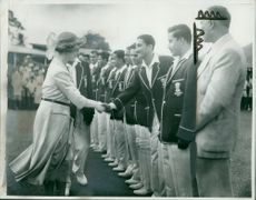 Princess Royal with the cricketers