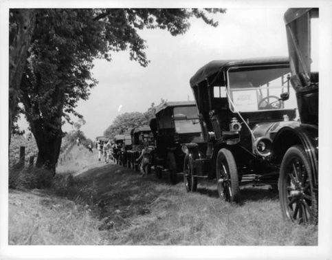 Ford Model T cars parked in a row.