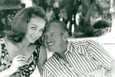 """David Niven along with his wife Hjördis in their holiday house """"Lo Scolietto"""" on the French Riviera"""