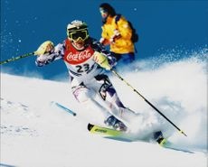 Alpine World Ski Championship. Slalom. E Biavaschi on the slopes