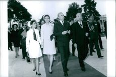 U Thant walking with Shah Pahlavi and Farah Pahlavi. 1968.