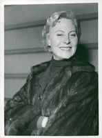 French actress Michèle Morgan on her arrival at Victoria Station