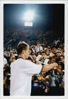 Stefan Edberg is celebrated by fans at his last US Open