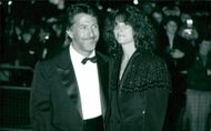 "Dustin Hoffman and his wife Lisa Hoffman at the premiere of ""Rainman""."