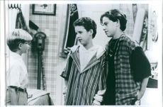 Ben Savage in a scene with two friends from the TV series Boy Meets World.    1993