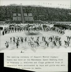 The opening ceremony for the Sapporo Olympic Games held at Makomanai Arena, where ice hockey, skating and art skiing branches will be decided.