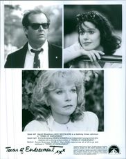 """A photos of Horton (Jeff Daniels), Emma (Debra Winger) and  Aurora Greenway (Shirley MacLaine) in a film """"Terms of Endearment""""."""