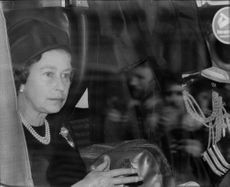 Queen Elizabeth II sits on the train at Waterloo Station and is waiting to go away with the coffin with Earl Mountbatten to Romsey for funeral