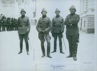 Four soldiers standing and posing for camera, 1914.
