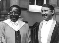 President Robert Gabriel Mugabe with David Steel (Leader of the Liberal party).