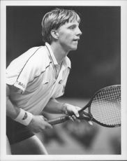 Boris Becker during a match against John McEnroe.