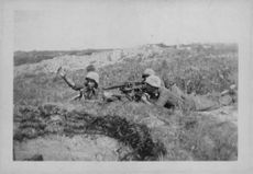 Soldiers on the battle field attacking the enemy.