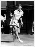 Tennis player Catarina Lindqvist in action in Wimbledon