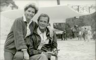 "Roger Moore and his wife Luisa during the recordings of the James Bond movie ""Live Scoreboard"""