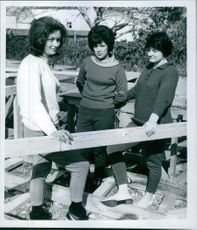 Raft Girls Margaret Marshall pictured with with Barbara Ranga and Sophie Petty. 1964.