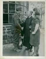 A German prisoner Janson meeting with his mother during family meeting session between the German solder and his family arrangement by Allied Military