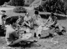 People having a picnic in the park. 1964