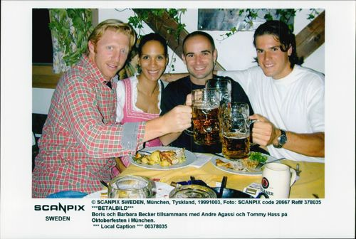 Boris and Barbara Becker together with Andre Agassi and Tomyy Hass at the Oktoberfest in Munich