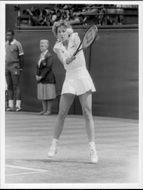 Chris Evert in action during the Wimbledon 1985