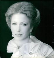 Princess Anne will be 28 on the 15th August 1978. She is seen here wearing a cream lace evening dress, with a sapphire and diamond brooch.