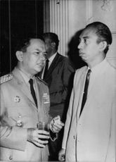 Indonesian politician Adam Malik seen with Major General Alamsjah Ratoe, the new State Secretary who was appointed in February 1968
