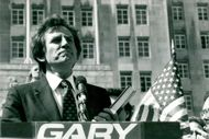 President Gary Hart talks in New York