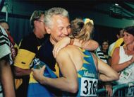 Ludmila Engquist is retreated by Bengt Westerberg after the gold race in the Olympic Games in Atlanta in 1996