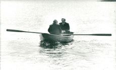 Edward Giereck visits Sweden. Here with Prime Minister Olof Palme on a rowing trip