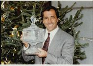 Portrait image of Seve Ballesteros who received the Ritz Club European Golfer of the year award.