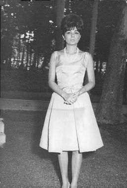 Farah Pahlavi outdoors.