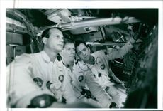 """1995  A scene of  William """"Bill"""" Paxton ,Thomas Jeffrey Hanks and Kevin Norwood Bacon  from the film Apollo 13."""