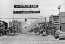 View of one of Alaska's pedestrian streets.
