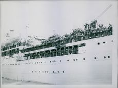 1946 Men light, the corfu pictured as she left the quay-side at Southampton. Men who walked off are being temporarily quartered at a Southampton transitcamp.