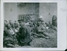 Vintage photo of wounded soldiers in a factory turned into hospital in 1935.