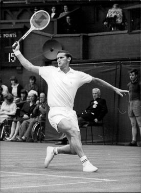 Roy Emerson during the opening match in Wimbledon.