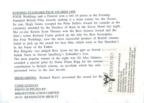 Richard Harris awarded prize at the Evening Standard Film Awards