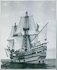 The Mayflower ship on full sail.