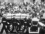 Funeral procession with coffin of Dwight David