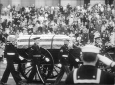 """Funeral procession with coffin of Dwight David """"Ike"""" Eisenhower."""