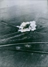 Huge smoke mushrooms attest to the accuracy of Stukas when German bombed Russia, 1942.