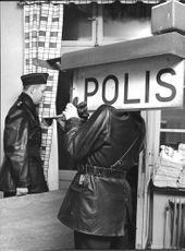 Two policemen at Solna police headquarters on New Year's day.
