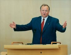 Göran Persson, party leader, Social Democrats. Prime Minister. During the final party leadership debate in parliament