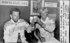 Mikael Pernfors and Kent Carlsson are bowling for the win during the Davis Cup
