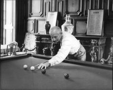 Bernard Montgomery playing billiard, October 1954.