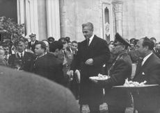 Mohammad Reza Pahlavi in an event.