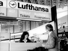 Lufthansa check in at the airport in Frankfurt.
