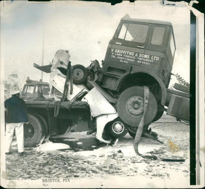road accidents:the two cars one crushed out of all.