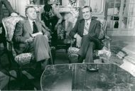 Former President Richard Nixon and French Interviewer Joseph Pasteur Set make arrangements for a three-hour long show at the Ritz